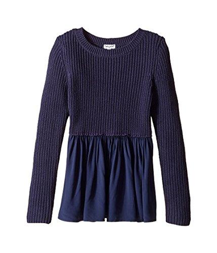 Splendid Littles Girl's Long Sleeve Sweater Woven Tunic (Big Kids) Navy (Splendid Long Sleeve Tunic)