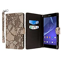 Sony Xperia T2 Ultra Case, MPERO FLEX FLIP Series Premium PU Leather Wallet [3 Pockets] Inner Flexible TPU Slim Fit Case for Xperia T2 Ultra with Magnetic Flap & Hand Strap [Perfect Fit & Precise Port Cut Outs] - Black Lace