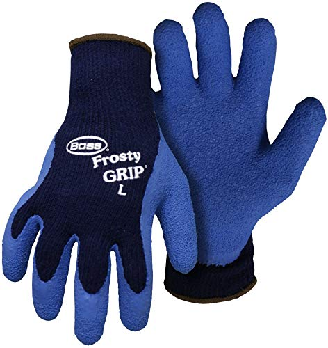 Glove Rubber Boss Insulated - New Boss 8439l Large Frosty Grip Insulated Rubber Coated Chemical Gloves 9069832