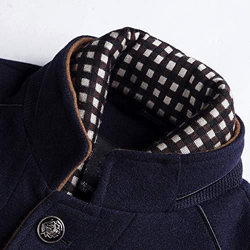 Daoroka Mens Wool Stand Collar Business Jacket Coat Autumn Winter Thick Warm Pocket Solid Button Outwear Fashion Casual Long Sleeve Overcoat by Daoroka Men Coat&Jacket (Image #1)