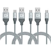 TOBETB 3 Pack 4ft Micro USB Charging Cable for Android Device Grey