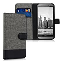 kwmobile Wallet case canvas cover for HTC One M8 / Dual - Flip case with card slot and stand in grey black