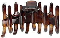 Caravan Medium Tubular Rake Hair Claw With Spiked And Rounded Teeth In The Tortoise Shell Classic Color