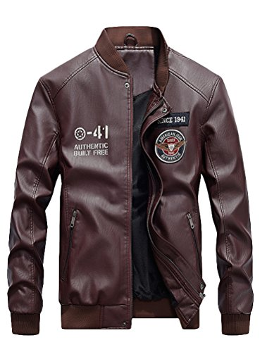 (Mordenmiss Men's Basic Leather Letter Man Baseball Varsity Jacket Bomber Outwear Style 2 Burgundy L)
