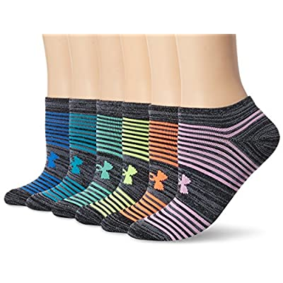 Under Armour Women's Essential Twist 2.0 No Show Socks (6 Pack), Black Assortment, Medium: Clothing