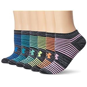 Under Armour Women's Essential No Show Socks, 6-Pairs , Black Assortment , Shoe Size: Womens 6-9
