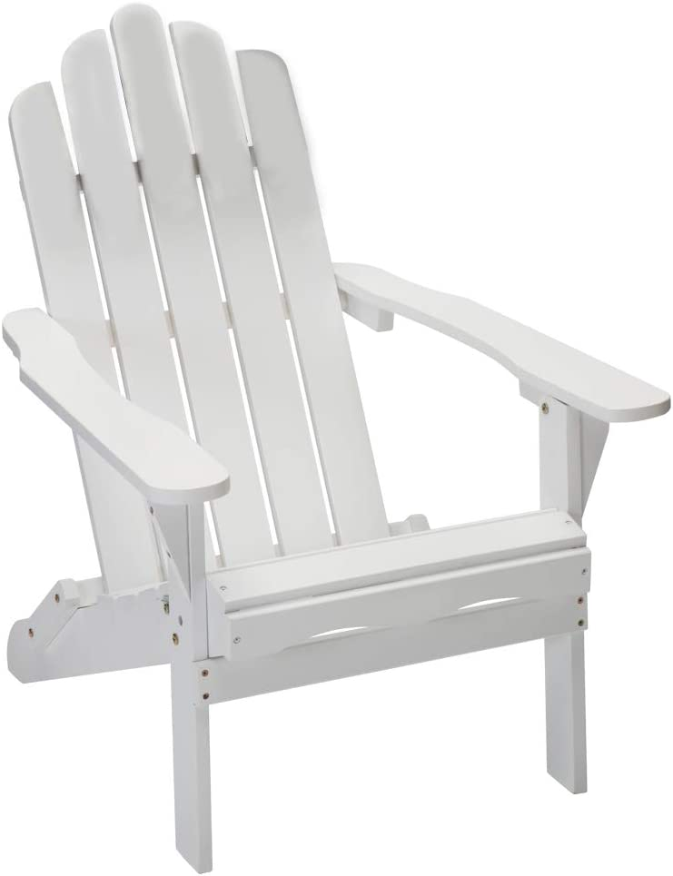 YTPORTS Folding Wood Adirondack Chair Accent Furniture for Yard, Patio, Garden - White