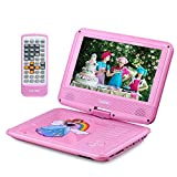 """UEME 9"""" Portable DVD Player for Kids with Car Headrest Mount Holder Swivel Screen Remote Control, Portable CD Player PD-0093 (Pink)"""
