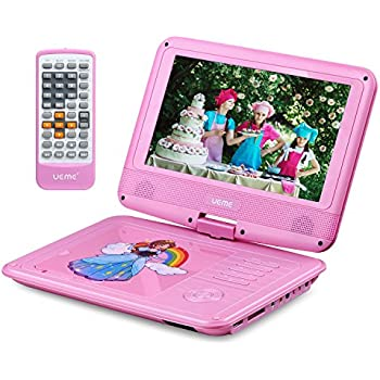 ueme 9 portable dvd player for kids with car headrest mount holder swivel screen remote