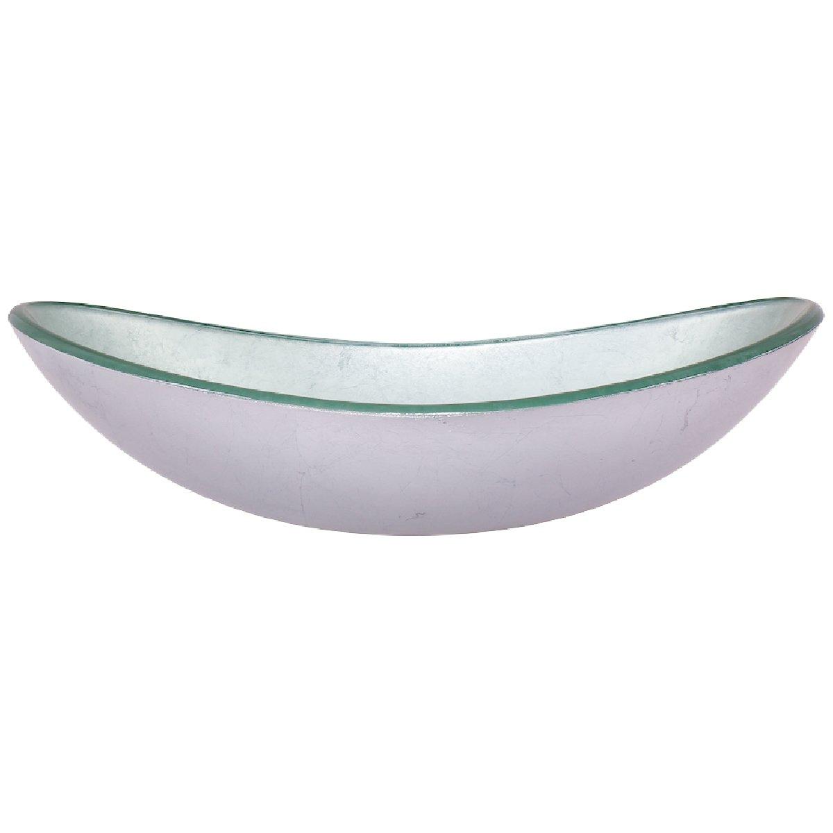 Novatto TIG-70328031BN Argento Oval Glass Vessel Bathroom Sink Set Brushed Nickel