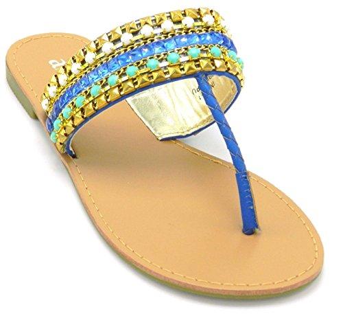 Dames Multicolor Rhinestones Kralen Gladiator Flip-flop Slip Op Sandaal Teenslippers Schoenen Blauw