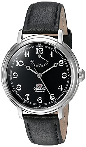 Manual Wind Wrist Watch - Orient Men's 'Monarch' Mechanical Hand Wind Stainless Steel and Leather Dress Watch, Color:Black (Model: FDD03002B0)