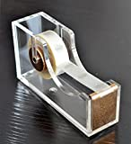 Chris.W Modern Desktop Tape Dispenser - Acrylic Office Desk Supplies for Office, School and Home - Anti-slip Base(Gold Tone)