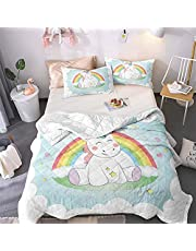 Cartoon Unicorn Pink Maiden Girl Child Printed Bedspread Quilt Set - Quilt and 2 Quilted Pillowcases, All Season Breathable Bedspread Coverlet Bedding Set/Healthy/Soft/Durable