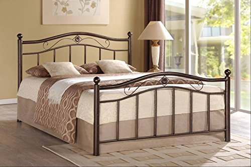 Hodedah Complete Metal Bed with Headboard, High Footboard, Slats and Rails, Queen Size, Charcoal