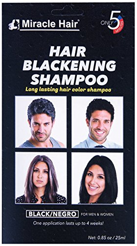Miracle Hair: Black Hair Dye - Hair Blackening Shampoo - 12 Pack - Smooths and Conditions Hair, Easy Apply Non-Drip Formula, Long-Lasting Gray Hair Coverage in Under 5 Minutes ()