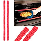 Aprince Set of 2 Heat Resistant Silicone Oven Rack Protector Shields - Protect your hands against accidental burns and injury (Red)
