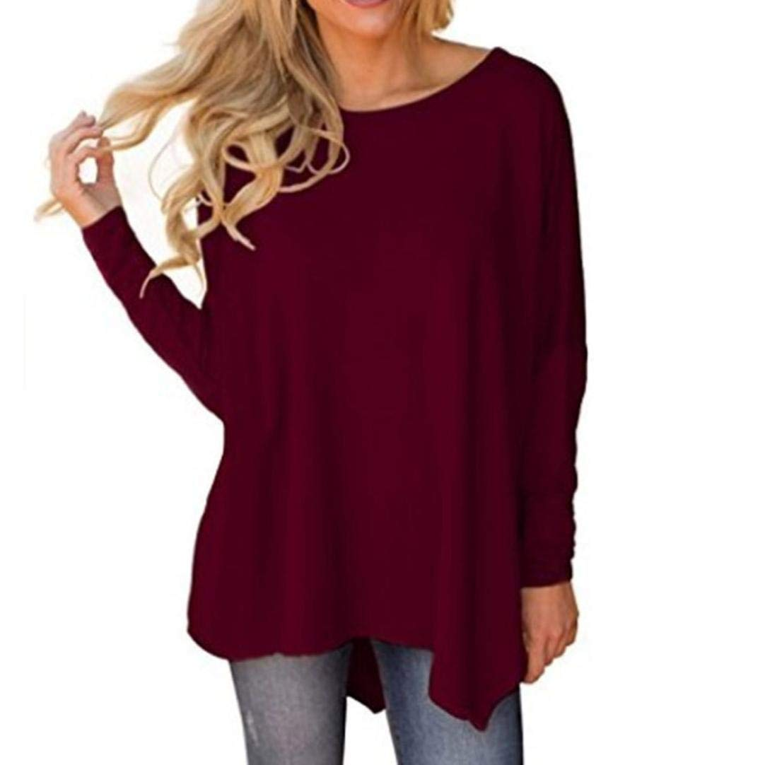 Realdo Women Ladies Long Sleeve O-Neck Pure Color Irregular Hem Blouse Tops