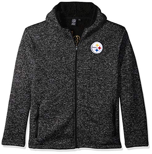 sburgh Steelers Men's Sherpa Full Zip Cozy Fleece Hoodie Sweatshirt, X-Large, Black ()
