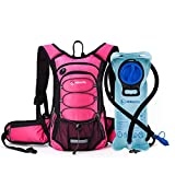 Miracol Hydration Backpack with 2L Water Bladder, Thermal Insulation Pack Keeps Liquid Cool up to 4 Hours, Prefect Outdoor Gear for Skiing, Running, Hiking, Cycling (Pink)