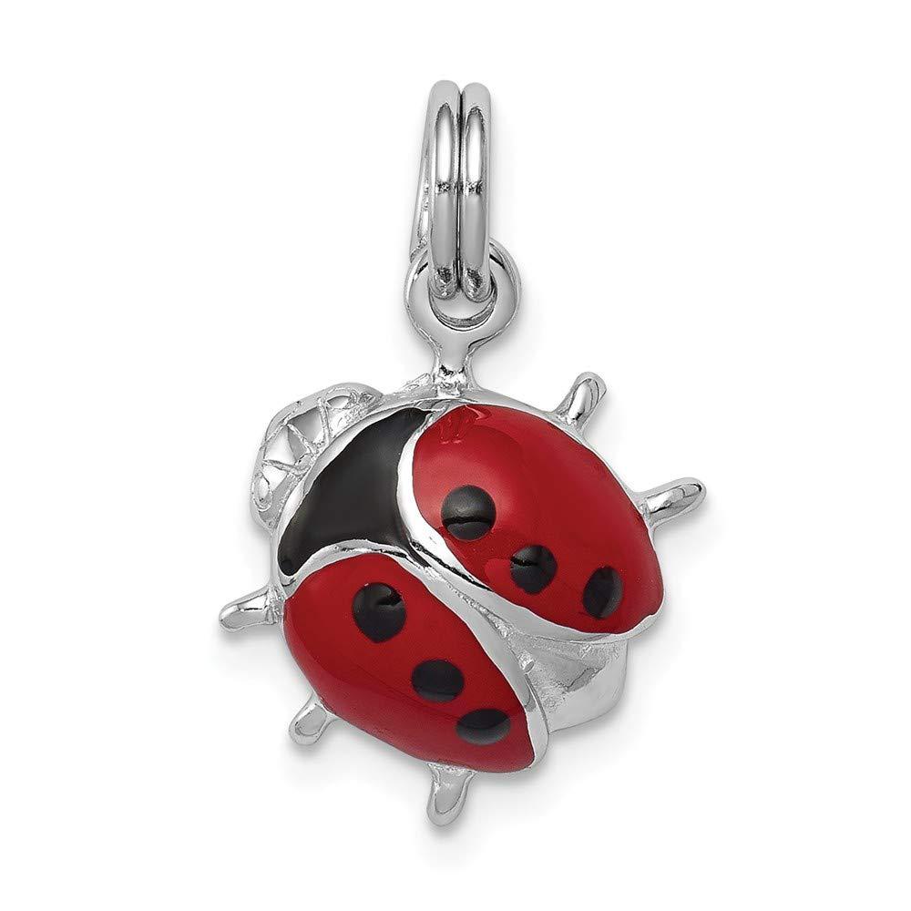 19d91dace Amazon.com: Q Gold Jewelry Pendants & Charms Themed Charms Sterling Silver  Rhodium-platedEnamel Ladybug Charm: Jewelry