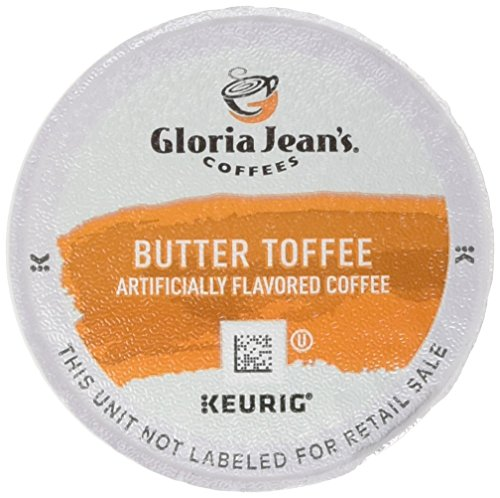 Gloria Jean's Coffees, Butter Toffee, K-Cup Portion Pack for Keurig Brewers 24-Count Toffee Flavored Regular Coffee