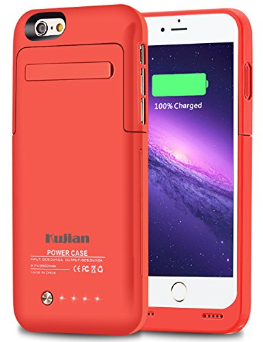 iPhone 6 Battery Case Kujian External Battery Backup Charger Case 3500mAh with Kickstand for iPhone 6/6S (Pink) by Kujian
