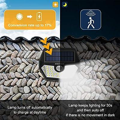 terraza trastero Foco Solar de Seguridad 450LM IP65 impermeable 1 pack iluminaci/ón para jard/ín MEIKEE 30 led luz solar Blanco c/álido de jard/ín l/ámpara solar de exterior camino