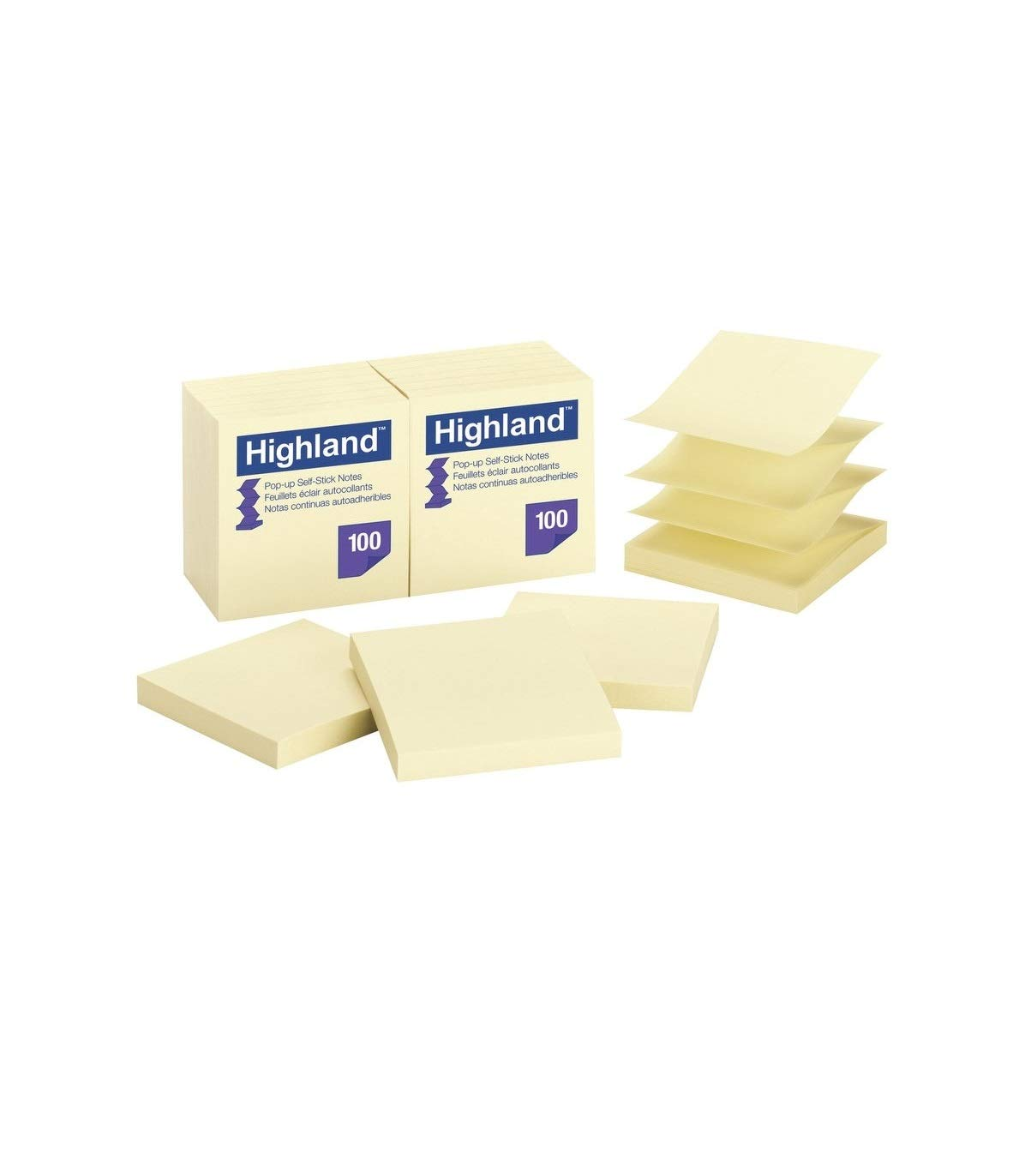 Highland Pop-up Notes, 3 x 3-Inches,Yellow, 36-Pads/Pack