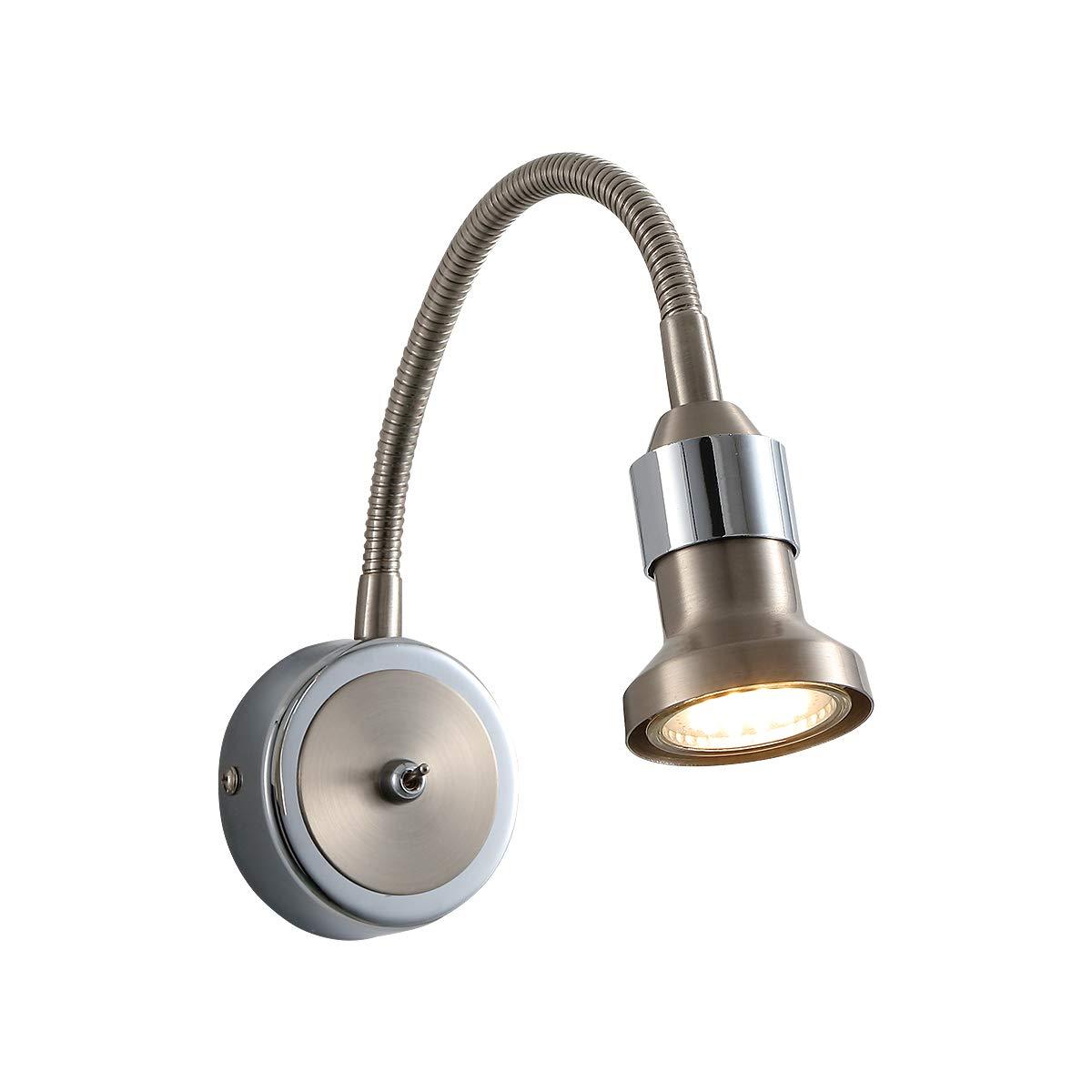 LED Wandleuchte Wandlampe Flexibel mit Schwanenhalsarm 360° Minimalistische Warmweiß für Wohnzimmer Schlafzimmer Locker Nachttisch Schrank Arbeitsplatze Treppenhaus Flurlampe GU10 5W ZOOVQI ZOO-1215-1