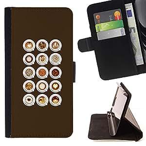 Barista Caf? Cappuccino Espuma- Modelo colorido cuero de la carpeta del tirón del caso cubierta piel Holster Funda protecció Para Apple (4.7 inches!!!) iPhone 6 / 6S