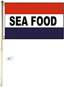 MWS 5' Wood Pole Kit Bracket with 3x5 Seafood RWB Red White Blue Flag Polyester Nylon 3'x5' House Banner 90cm x 150cm Grommets Double Stitched Premium Quality