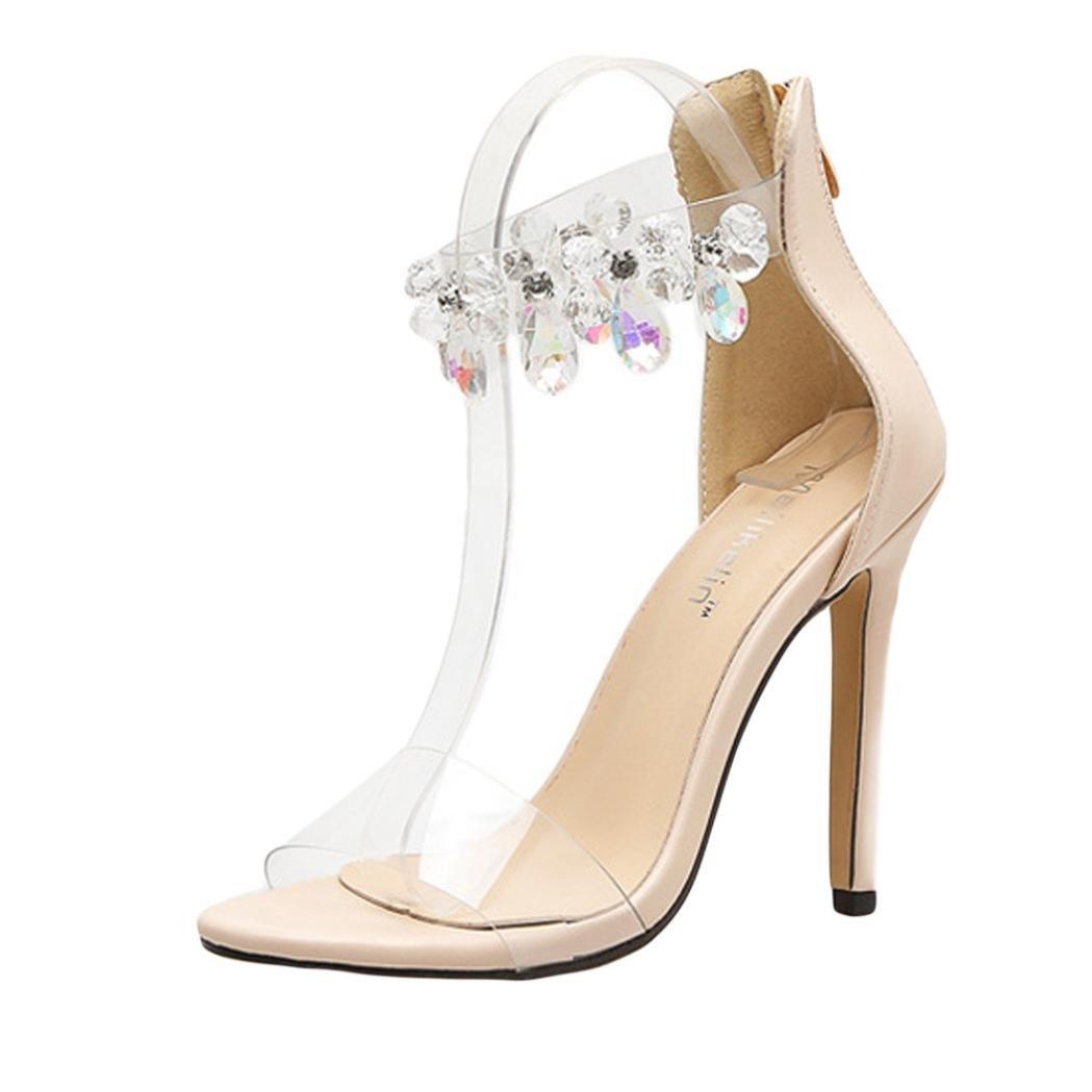 Sunbona Women Sexy Diamonds Peep Toe Ankle Buckle Transparent High Heels Sandals Casual Wedding Party Dress Shoes (US:6.5(RU/EU/CN37), Beige)