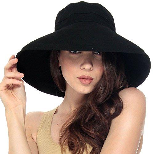 Simplicity Summer Solid Cotton Bucket Hat with Big Fold-Up Brim, Black
