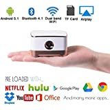 Mobile Pico Video Projector Portable Mini Pocket Size for iPhone and Android,HD Home Theater Cinema Projector with1080P HDMI USB Bluetooth (Pearl White)