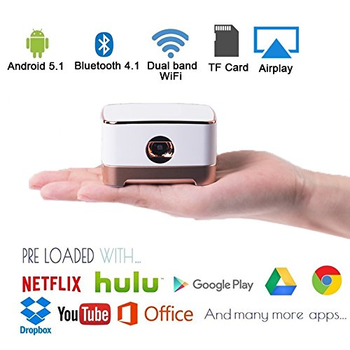 Mobile Pico Video Projector Portable Mini Pocket Size for iPhone and Android,HD Home Theater Cinema Projector with1080P HDMI USB Bluetooth (Pearl White) by Sysmarts