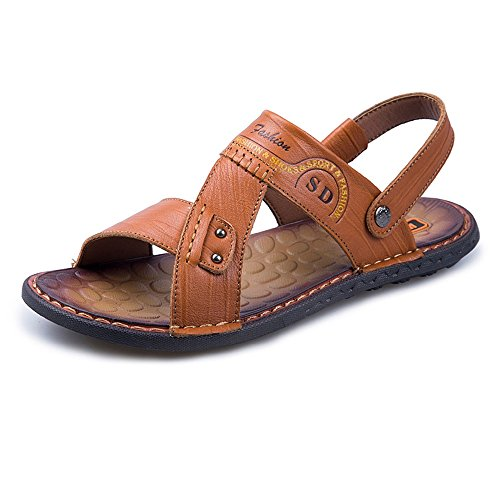 ambulante da Color 2018 di Sandali morbidi Orange per l'escursione cuoio uomo genuini EU Scarpe della Size Backless Scarpe regolabile all'aperto spiaggia 43 Brown degli uomini piatti aW55wnqfR