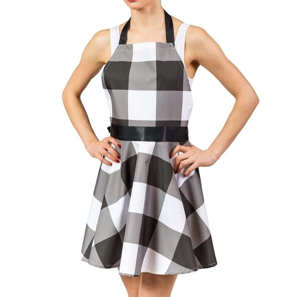 Rockabilly Kleid Kochschürze in schwarz-weiß - 1950er Kleid Küchenschürze trendaffe