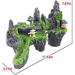 Dyna Thomas Reptile Habitat Artificial Stone Moss Silk Plants for Betta vorcool Squidward Fish Tank Hermit Bikini Bottom Crab Climbing Toys Saim Aquarium Decorations Rocks Ornament Waterfall Salt (A)