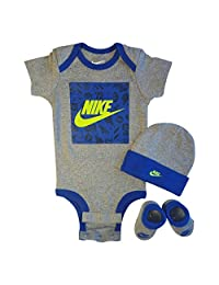 Nike 3 Piece Layette Set for Baby Boy's and Girl's, Bodysuit/Hat/Booties
