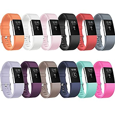 Fitbit Charge 2 Replacement Elastomer Bands, RedTaro Fitbit Charge 2 Accessories Wristbands Small Large,12 Plain Colors and much more Fashion Designs Available by RedTaro