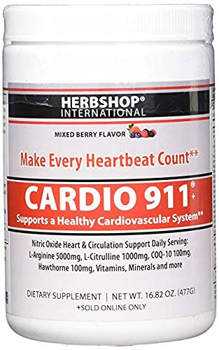 New Mixed Berry Flavor – Cardio 911 – Nitric Oxide Formula – L-Arginine Supplement 5000mg L-Citrulline 1000mg, 16.82 Oz. Powder – Coq10 100mg – Plus More Heart Health Ingredients, 30 Day Supply