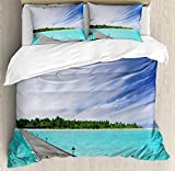 Art Duvet Cover Set by Ambesonne, View from a Deck at Tropical Island with Exotic Hawaii Sky Landscape Artprint, 3 Piece Bedding Set with Pillow Shams, Queen / Full, Turquoise Brown Green
