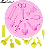 Star-Trade-Inc - 10PCS/SET M216 Hairdressing tool, Makeup Mirror, Comb, Hair Dryer Silicone Mold,Sugar Mold, Chocolate Mold, Cake Decoration Tool