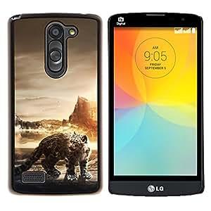 Leopardo de nieve- Metal de aluminio y de plástico duro Caja del teléfono - Negro - LG L Prime / L Prime Dual Chip D337