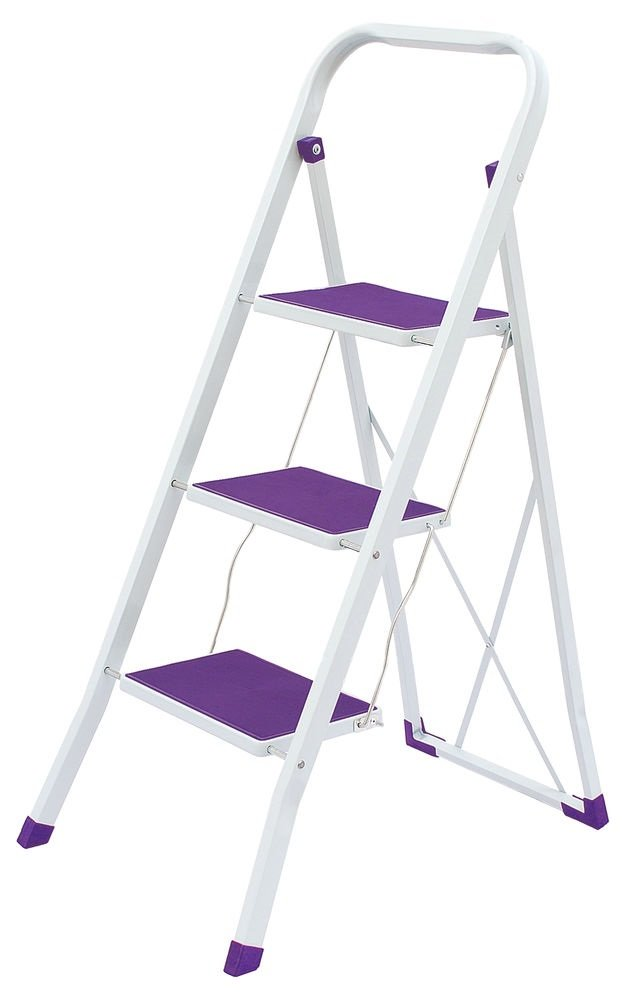 3 Steps Folding Lightweight Ladder, Stool for Home & Office Use Purple & White