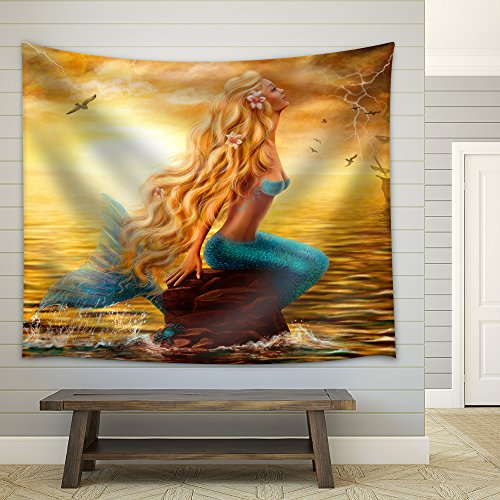 Beautiful Princess Sea Mermaid with Ghost Ship at Sunset Background Fabric Wall