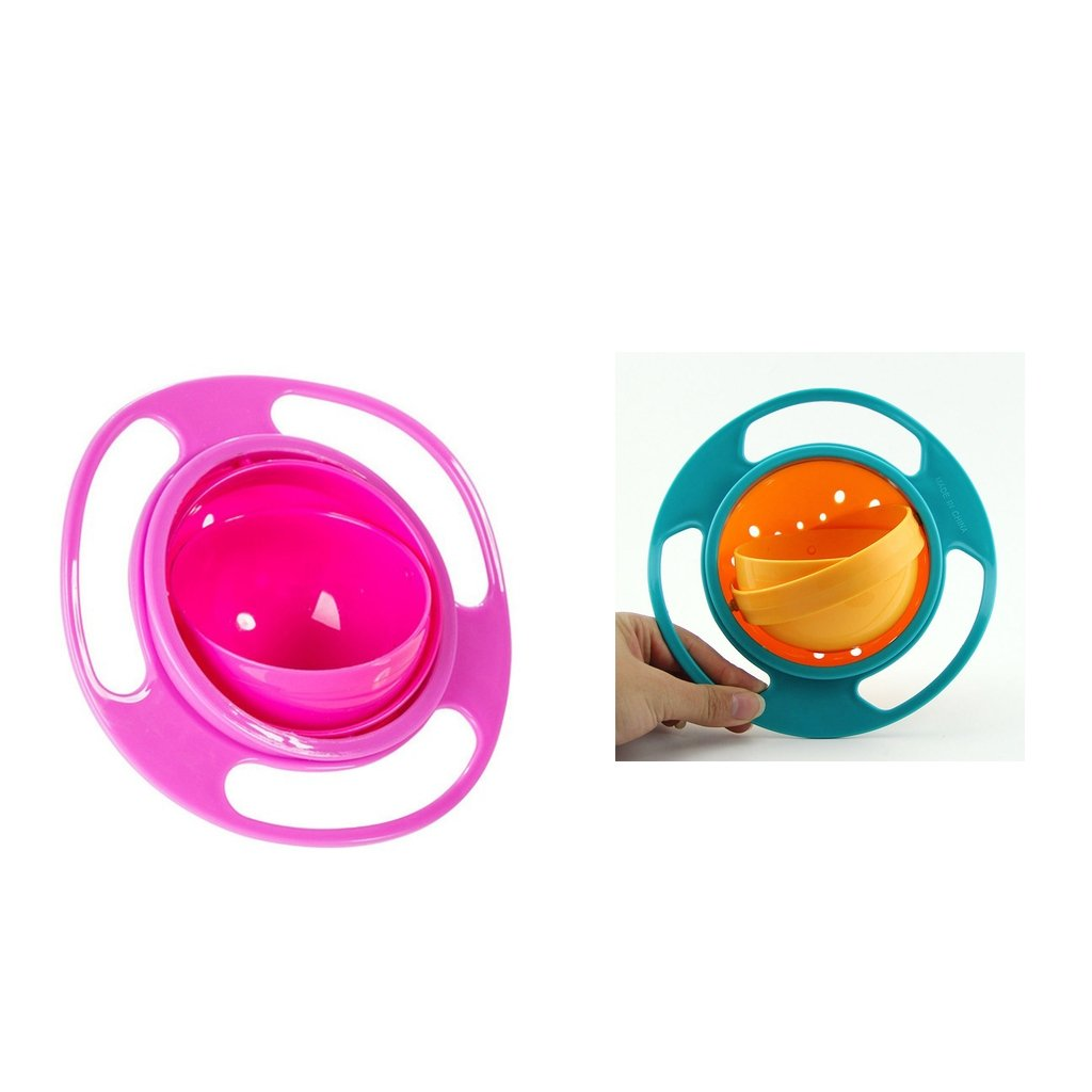 MagiDeal 2xBaby Toy Prato Universal 360 Rotate Spill-Proof Bowl Dishes Dinner Plate
