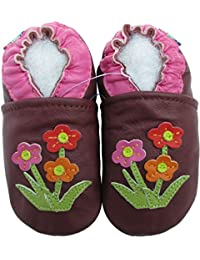 Carozoo Wildflower Purple Baby Soft Sole Leather Shoes Boys Infant Kids
