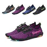 Leaproo Women Men Water Shoes Quick Dry Barefoot Sports Aqua Shoes for Swim Walking Yoga Beach Driving Boating purple35